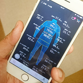 ZOZOアプリの計測結果画面