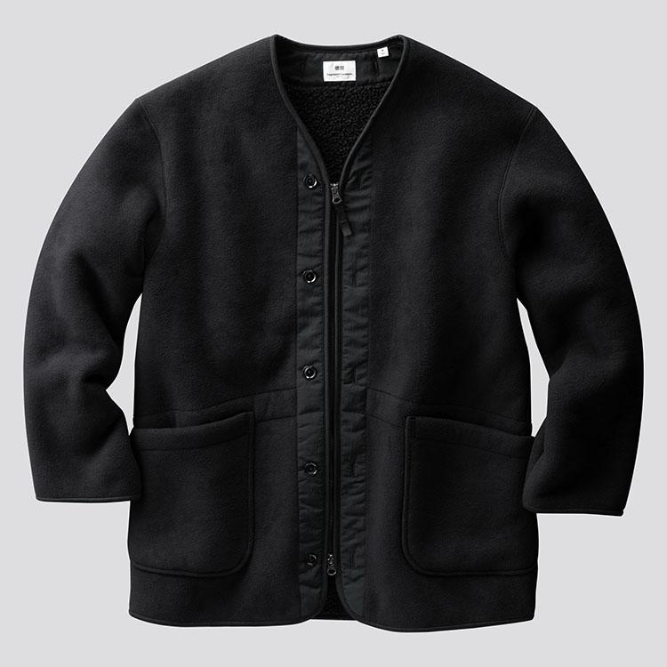 フリースノーカラーコート/BLACK