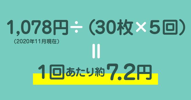 究極のヤマシン・フィルターシートのコスパ:1,078円 ÷(30枚 × 5回) = 1回あたり約7.2円